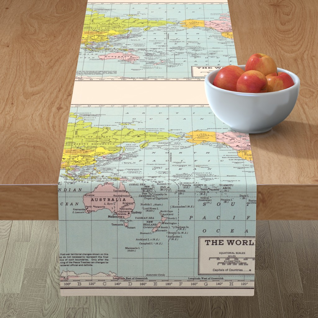 Minorca Table Runner featuring World Map - Vintage by aftermyart