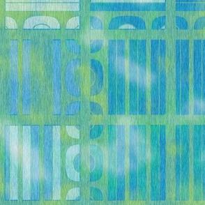 Worn Look Blue Green Geometric