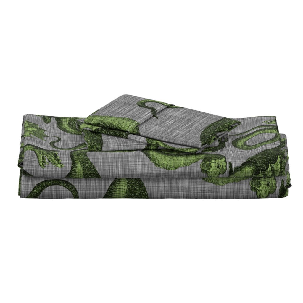 Langshan Full Bed Set featuring Draco ~ Evil Green on Steel Linen Luxe  by peacoquettedesigns