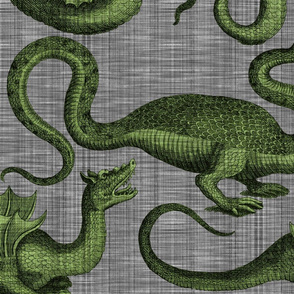 Draco ~ Evil Green on Steel Linen Luxe