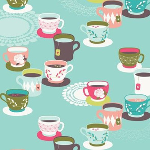 Spring Tea Garden Aqua Tea Cups