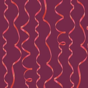 red curling ribbon on raspberry red