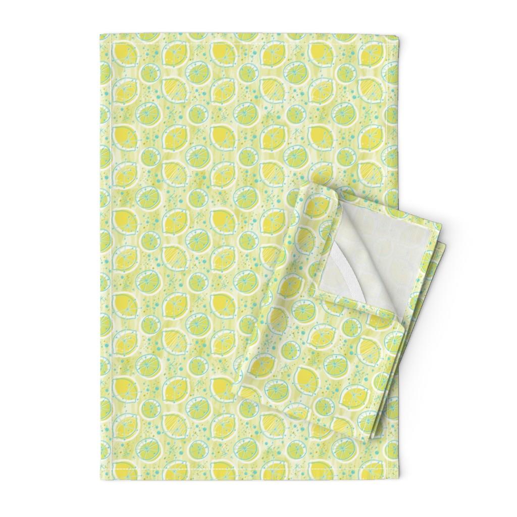 Orpington Tea Towels featuring Atomic lemonade_Green & Cerulean by mia_valdez