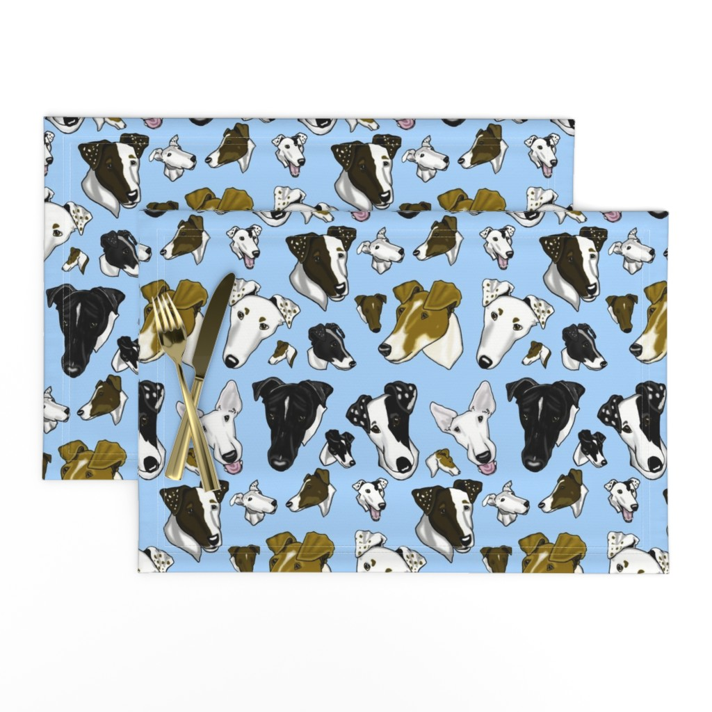 Lamona Cloth Placemats featuring Smooth Fox Terriers-light blue by creativeworksstudios