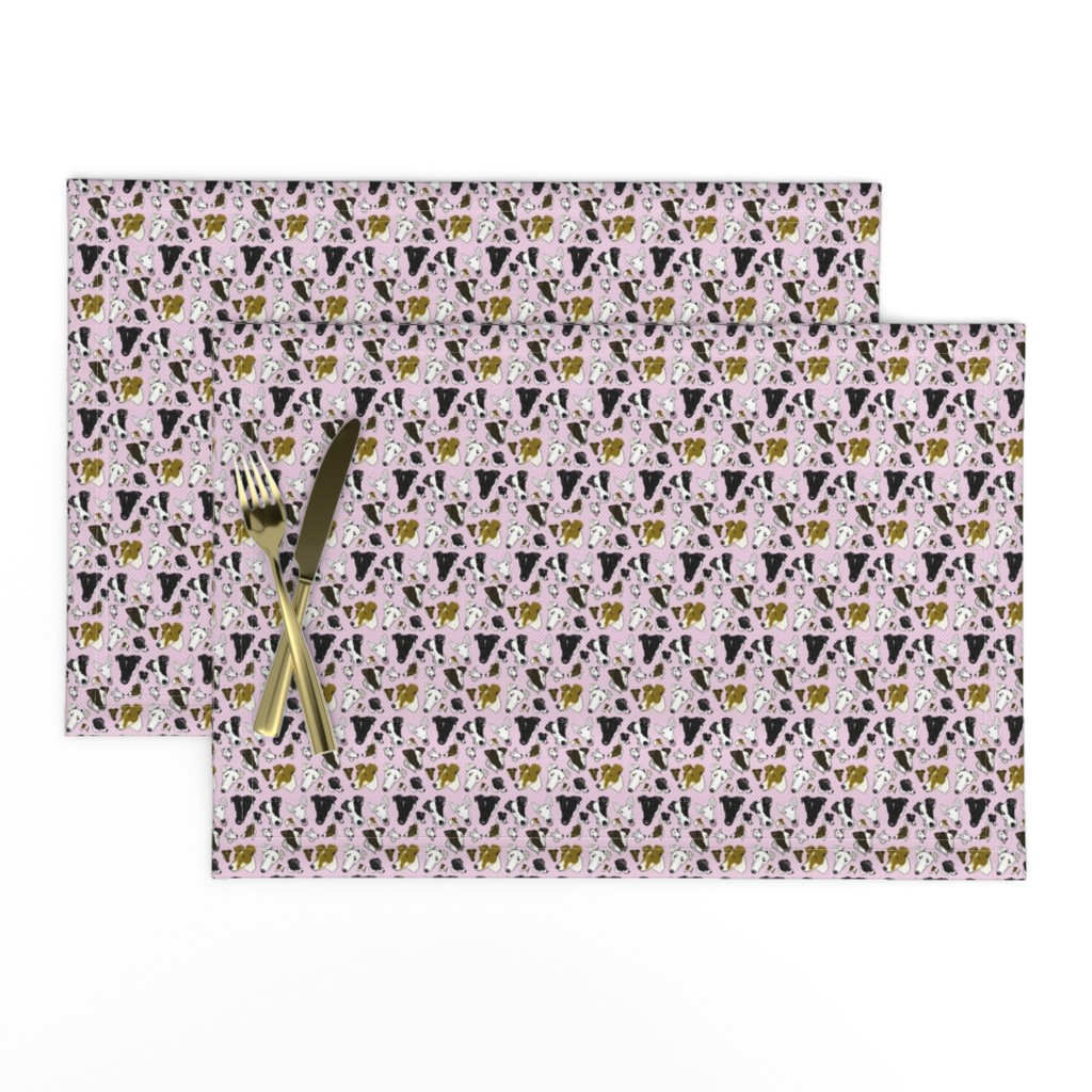 Lamona Cloth Placemats featuring Smooth Fox Terriers PINK_PLAID by creativeworksstudios