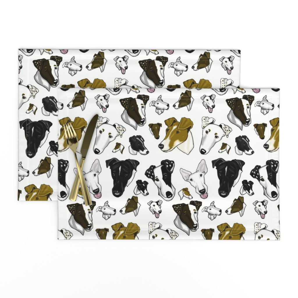 Lamona Cloth Placemats featuring Smooth Fox Terriers-WHITE by creativeworksstudios