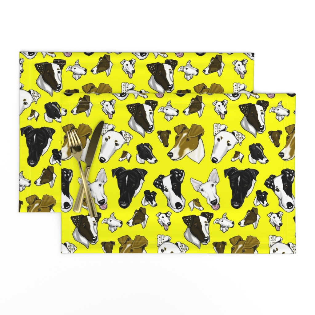 Lamona Cloth Placemats featuring Smooth Fox Terriers-yellow by creativeworksstudios