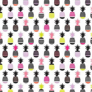 Fun black and white pink and lime color pops geometric pineapple fruit summer beach theme illustration pattern Small