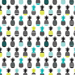 Fun black aqua blue and lime ananas color pops geometric pineapple fruit summer beach theme illustration pattern Small
