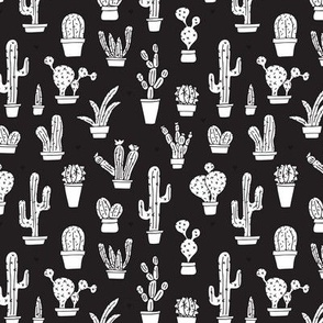 Black and white trendy summer cactus theme botanical garden gender neutral cacti and succulent garden illustration print Small