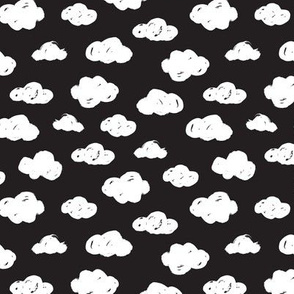White clouds black and white night abstract geometric gender neutrals prints for kids Small