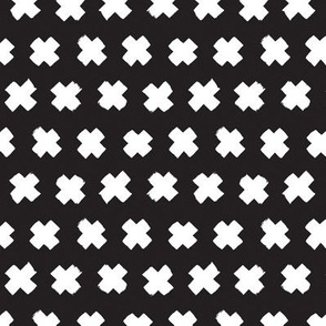 Black and white cross and abstract plus sign geometric grunge brush strokes scandinavian style print Small