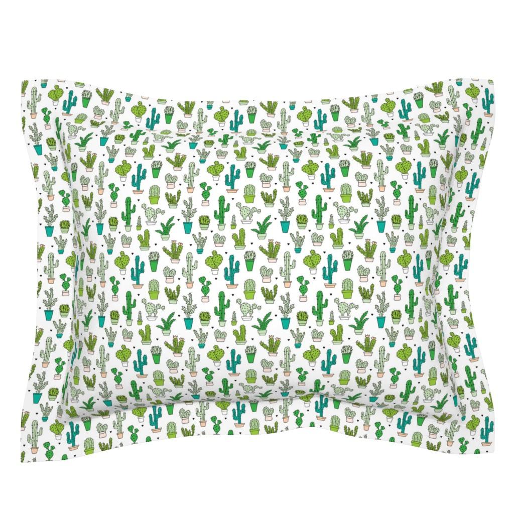 Sebright Pillow Sham featuring Cactus cacti garden botanical succulent green garden pattern illustration print Small by littlesmilemakers