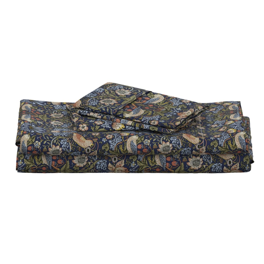 Langshan Full Bed Set featuring William Morris ~ Strawberry Thief ~ Original Blue  by peacoquettedesigns