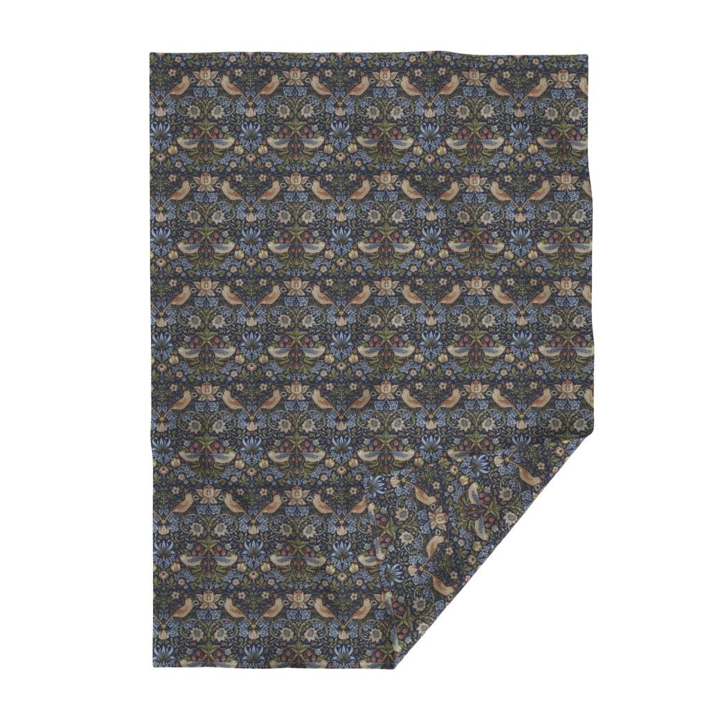 Lakenvelder Throw Blanket featuring William Morris ~ Strawberry Thief ~ Original Blue  by peacoquettedesigns