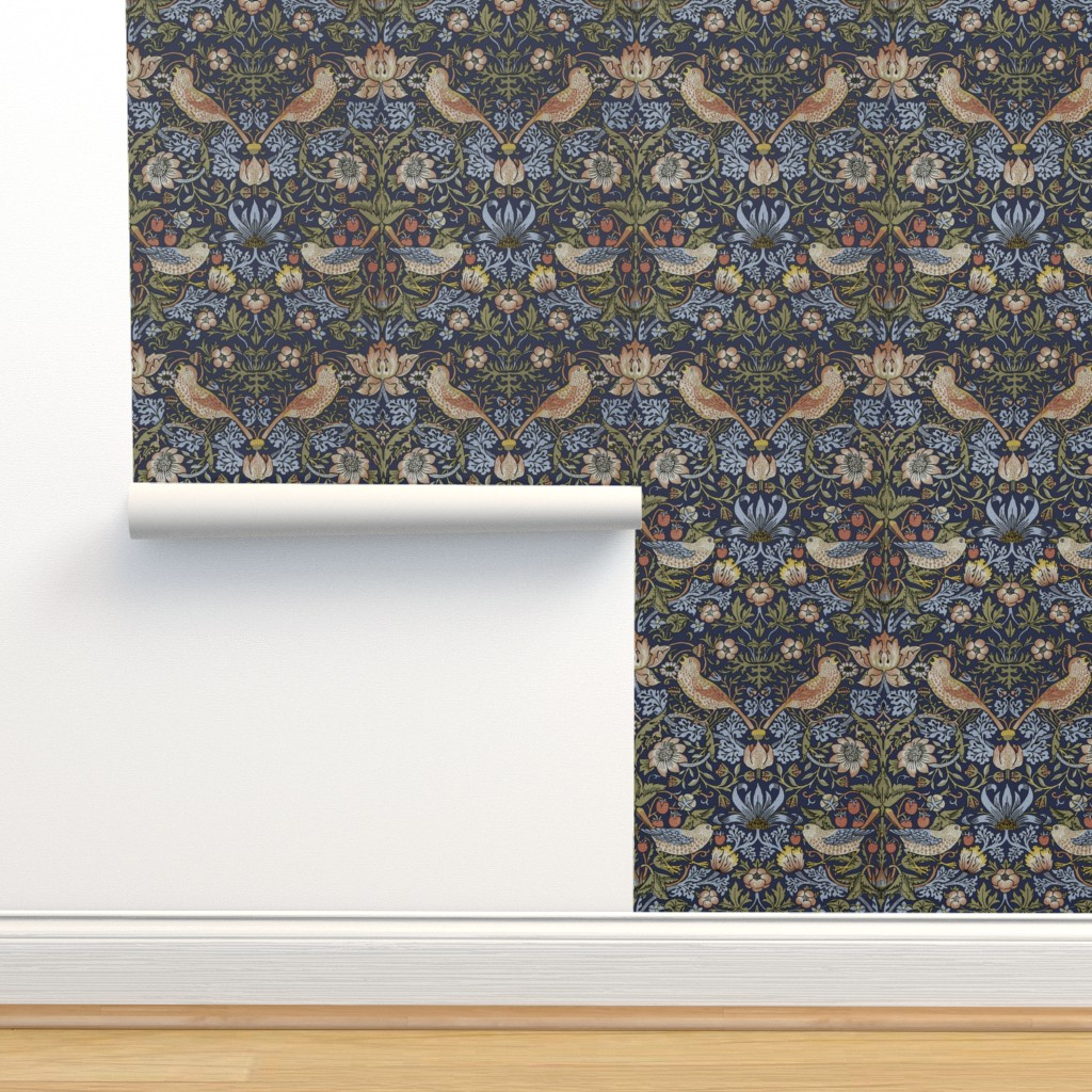 Isobar Durable Wallpaper featuring William Morris ~ Strawberry Thief ~ Original Blue  by peacoquettedesigns