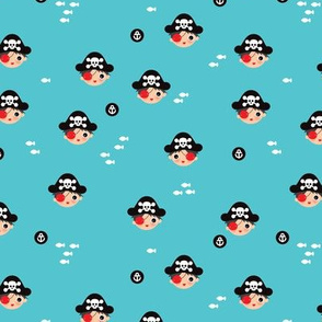 Cute pirates skulls and fish and anchor bird illustration boys illustration print