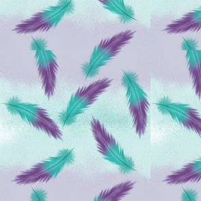 Watercolor Feathers - lilac and teal