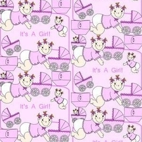 Baby Girls With Carriages and Diapers Fabric #3