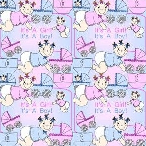 Baby Boys and Girls With Carriages and Diapers Fabric #3