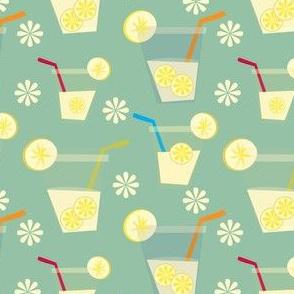 Retro aqua iced lemonade conversational print