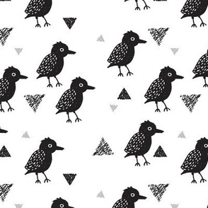 Cute scandinavian black and white blackbird birds illustration print and geometric details