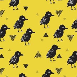 Cute colorful mustard blackbird birds illustration print and geometric details