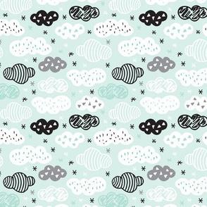 geometric pastel sleepy blue sky cloud pattern