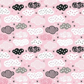 geometric pastel sleepy powder pink cloud sky pattern