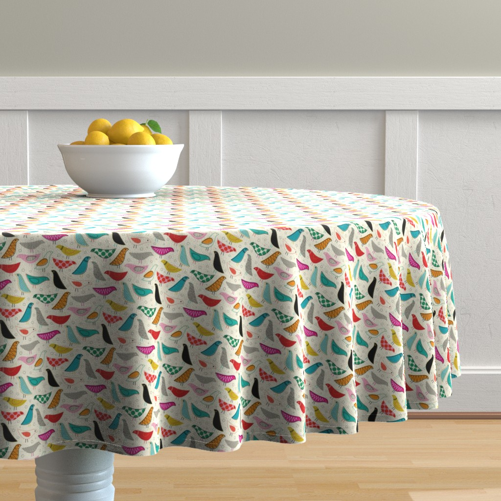 Malay Round Tablecloth featuring A Nod to the House Bird - 25% Scale by katerhees