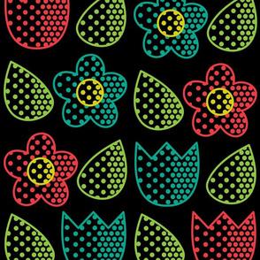Pop Bot Floral Black