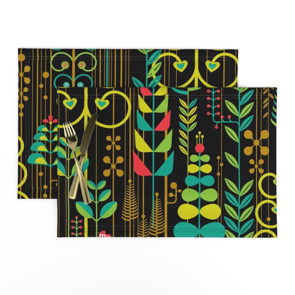 Lamona Cloth Placemats featuring Dark Botanical by meliszawang