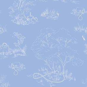 Fashion Toile White on Blue