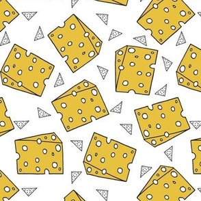 cheese fabric // novelty food fabric print for craft projects