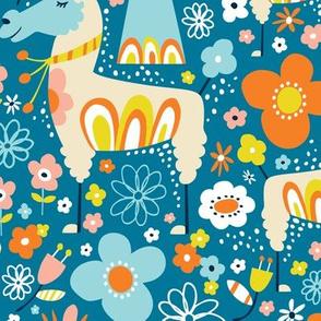 Lovely Llamas - Large Scale Blue & Orange