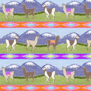 Llamas in the mountains