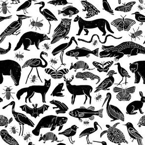 linocut animals // stamps hand-carved andrea lauren fabric andrea lauren design fabric baby cute animals