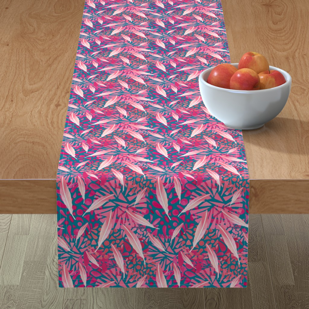 Minorca Table Runner featuring Flamingo Feather Flock by christinemay