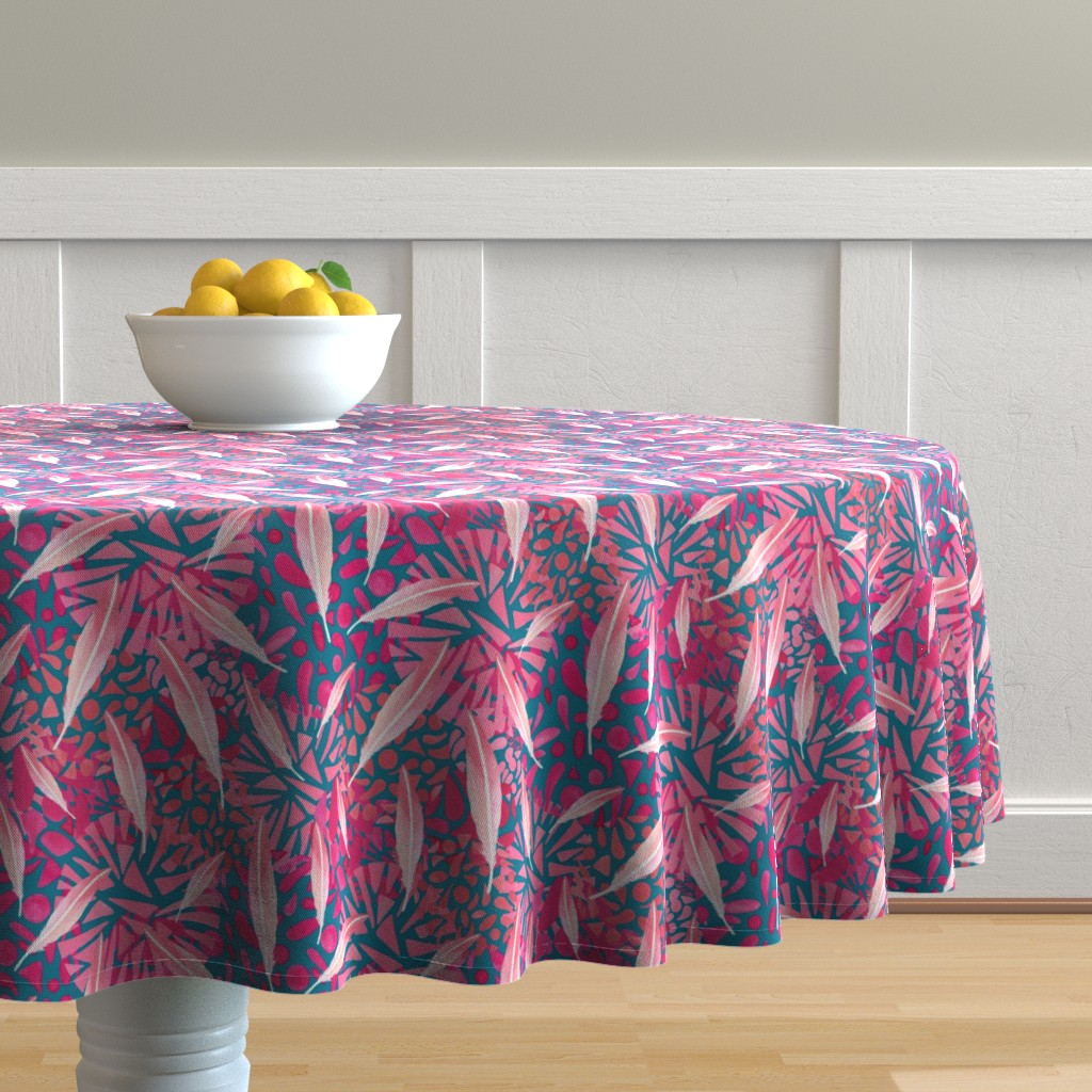 Malay Round Tablecloth featuring Flamingo Feather Flock by christinemay