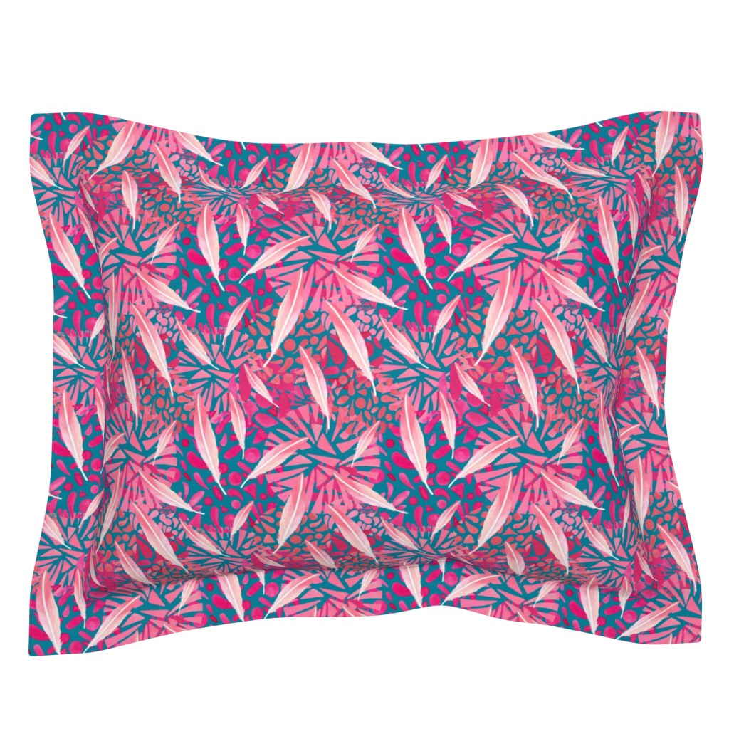 Sebright Pillow Sham featuring Flamingo Feather Flock by christinemay