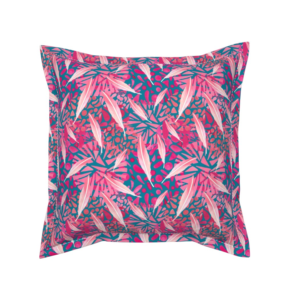 Serama Throw Pillow featuring Flamingo Feather Flock by christinemay