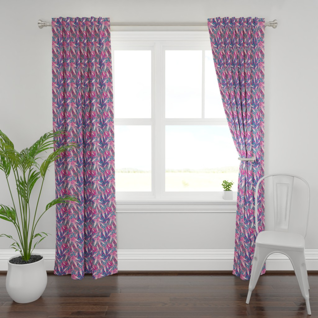 Plymouth Curtain Panel featuring Flamingo Feather Flock by christinemay