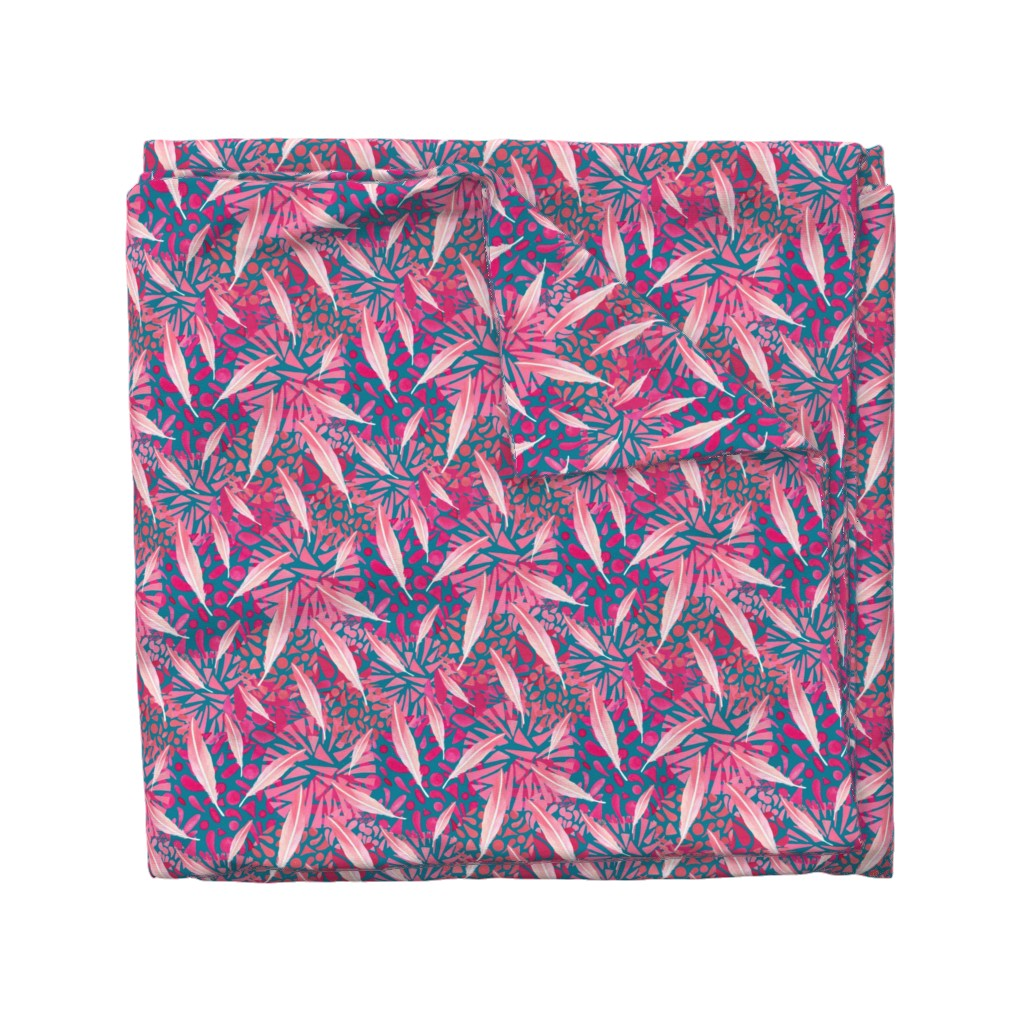 Wyandotte Duvet Cover featuring Flamingo Feather Flock by christinemay