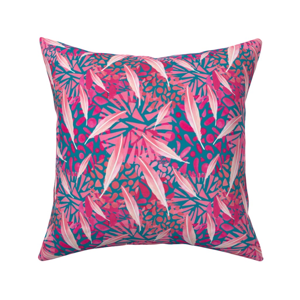 Catalan Throw Pillow featuring Flamingo Feather Flock by christinemay