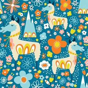 Lovely Llamas - Regular Scale Blue & Orange