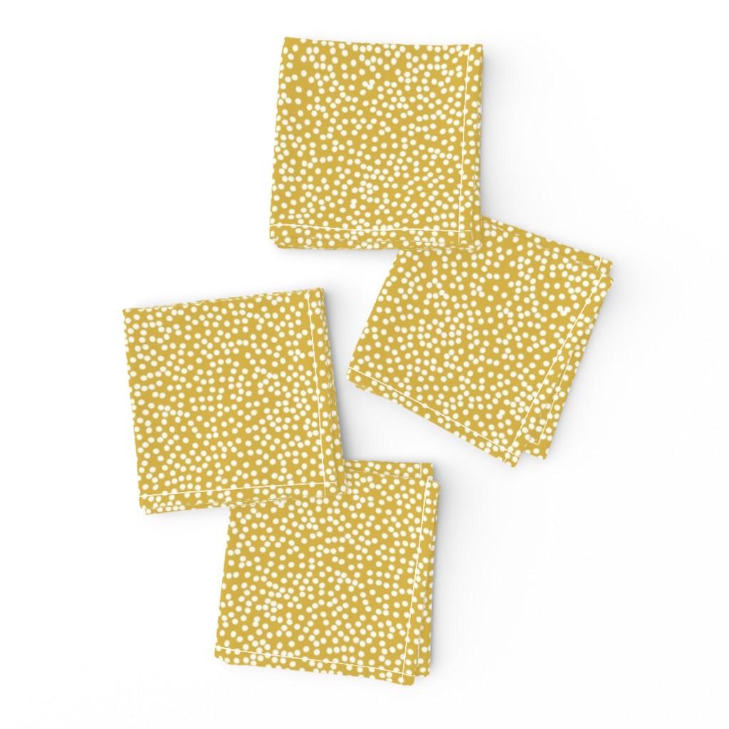 Frizzle Cocktail Napkins featuring Random Polkadot - Peruvian Gold by papercanoefabricshop
