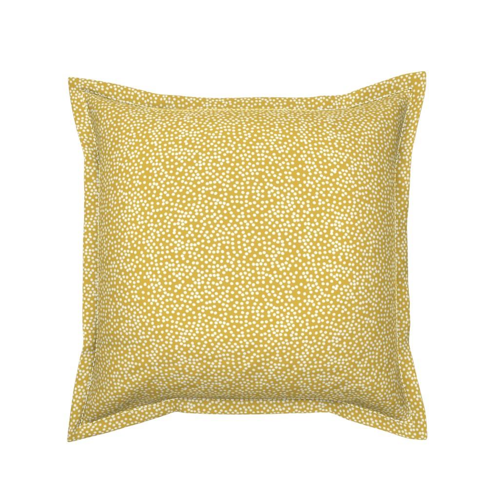 Serama Throw Pillow featuring Random Polkadot - Peruvian Gold by papercanoefabricshop
