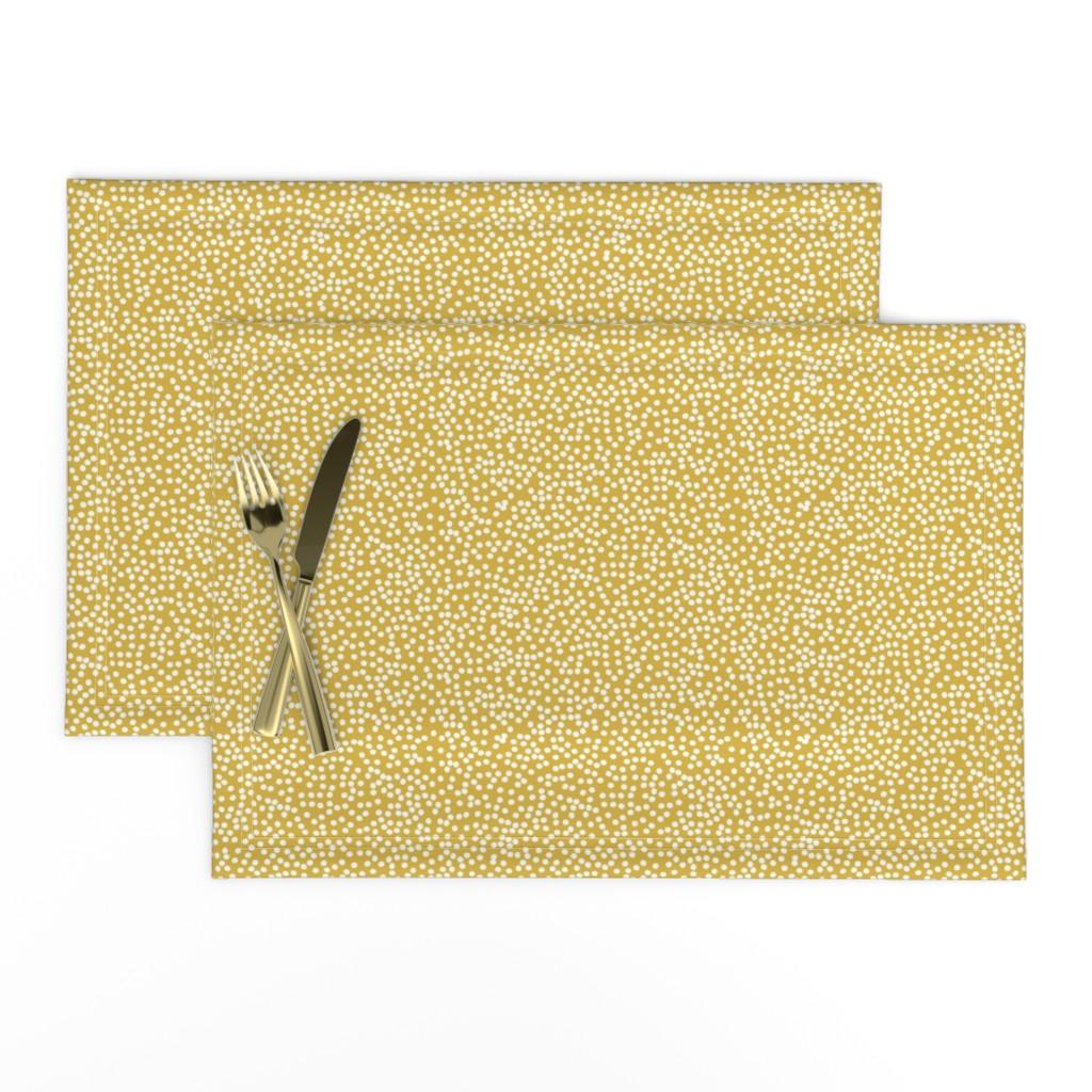 Lamona Cloth Placemats featuring Random Polkadot - Peruvian Gold by papercanoefabricshop