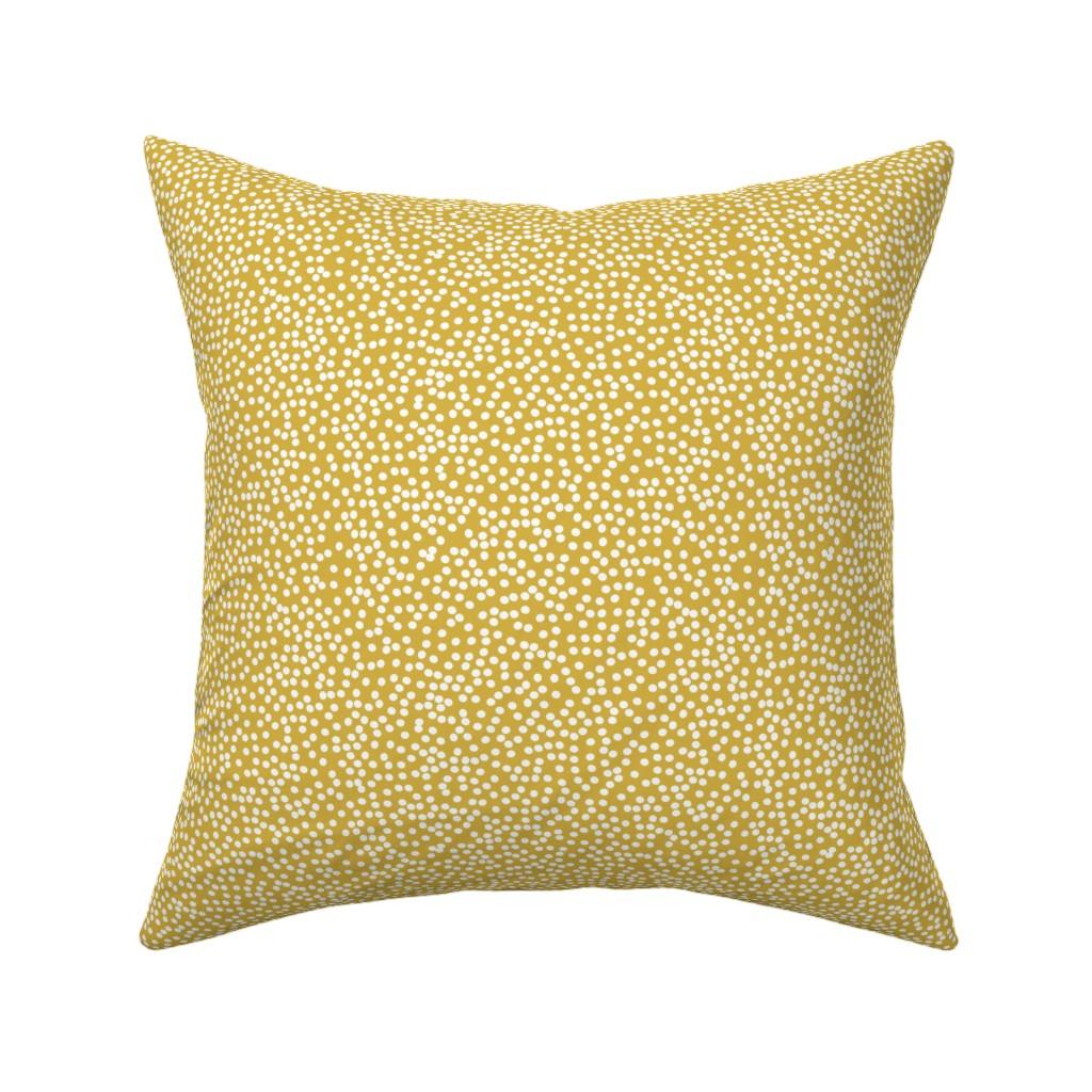 Catalan Throw Pillow featuring Random Polkadot - Peruvian Gold by papercanoefabricshop