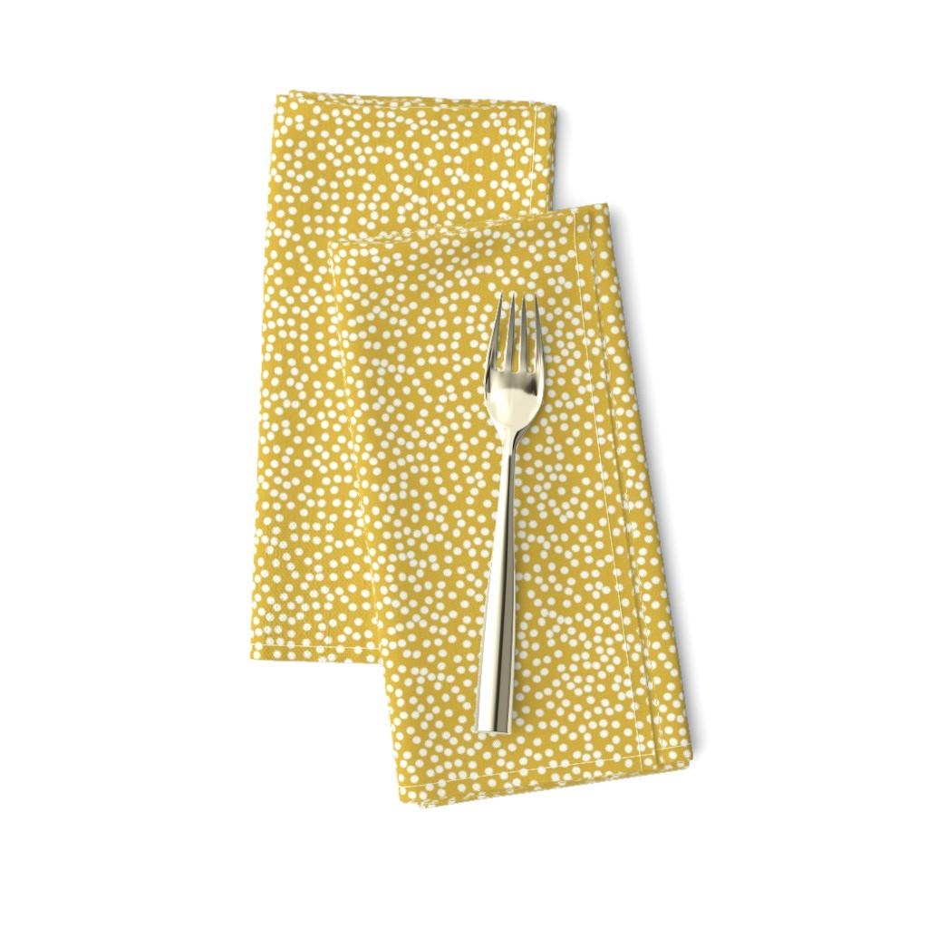 Amarela Dinner Napkins featuring Random Polkadot - Peruvian Gold by papercanoefabricshop